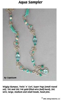 Aqua Sampler Wire and Beads Necklace made using WigJig jewelry making tools and jewelry supplies.