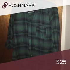 hollister flannel green/navy blue flannel size small Hollister Tops Button Down Shirts
