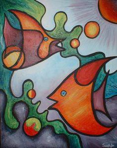 Fish in the Deep Sea - Acrylic on canvas