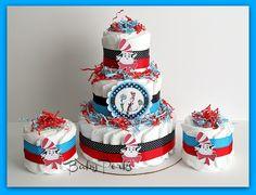 Dr Seuss Diaper Cake , Dr Seuss Baby Shower , Cat In the Hat Diaper Cake. $80.00, via Etsy.