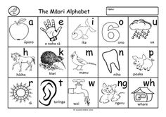 Blackline worksheet of the Maori alphabet for children to colour.Click here to view my other Te Reo Maori classroom resources.  Suzanne Welch Teaching Resources TpT credits  Earn TpT credits by providing feedback on this product after you purchase it. School Resources, Classroom Resources, Teacher Resources, Learning Stories, Stories For Kids, Teaching Tools, Teaching Kids, Page Boarders, Maori Words