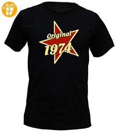 T-Shirt als lustiges Geschenk zum Geburtstag - Original 1974 mit Stern - Geburtstagsgeschenk mit Jahrgang - Schwarz, Größe:XL - T-Shirts mit Spruch   Lustige und coole T-Shirts   Funny T-Shirts (*Partner-Link)