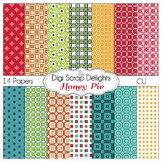 Honey Pie Turquoise Green Orange & Red by DigiScrapDelights, Inspired by Project Life Honey