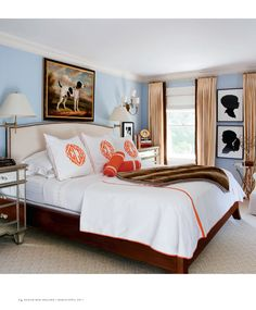 Benjamin Moore - Breath of Fresh Air - looks great with bright orange accents