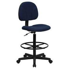 Ergonomic Drafting Chair Adjustable Navy Blue - Flash Furniture : Target
