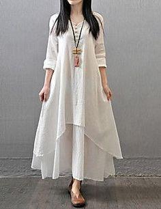 Feminino Solto Vestido,Casual Simples Temática Asiática Sólido Decote V Longo Manga Longa Algodão Poliéster Outono Cintura MédiaSem