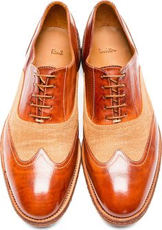 Paul Smith: Brown Leather Burlap Dennis Austerity Brogues