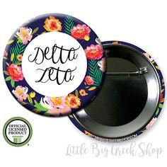 Delta Zeta DZ Floral Single or Bulk 2.25 by LittleBigGreekShop
