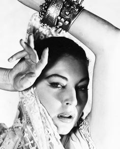 "Ava Gardner. Photo by George Hoyningen-Huene. A promotional shot for the film ""Bhowani Junction"", 1956."