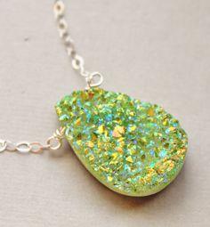 Green Titanium Druzy NecklaceGenuine Druzy by hangingbyathread1, $38.00