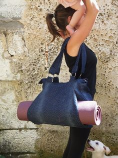 Tote bag for Yoga Mat with Matching Pouch made of Jeans by Shirku