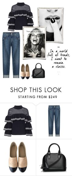 """""""Untitled #87"""" by annastyles101 ❤ liked on Polyvore featuring self-portrait, 7 For All Mankind, Chanel and Louis Vuitton"""