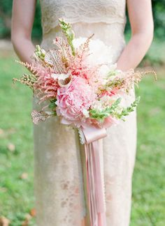 pink peony + astilbe bouquet by Holly Chapple | Jodi Miller