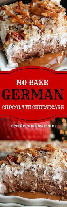 No Bake German Chocolate Cheesecake-Creole Contessa (Baking Desserts Chocolate) No Bake Treats, No Bake Desserts, Easy Desserts, Dessert Recipes, Trifle Desserts, Baking Desserts, Dessert Simple, Comfort Foods, German Chocolate Cheesecake