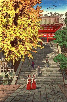 "Japanese Art Print ""Tsurugaoka Hachiman Shrine, Kamakura"" by Kasamatsu Shiro. Shin Hanga and Art Reproductions http://www.amazon.com/dp/B00XTGAHUK/ref=cm_sw_r_pi_dp_ugXvwb004PBGN"