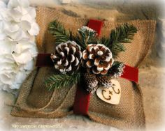 Burlap Ring Bearer Pillow Rustic Christmas by MinSvenskaLandgard