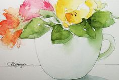 Flowers in a Coffee Cup Original Watercolor Painting by RoseAnn Hayes, available in Etsy shop