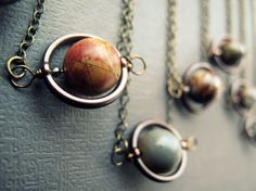 Planet Necklace Jasper Solar System Necklace Space Pendant Saturn Necklace Galaxy Planetary Celestial Steampunk Geeky Sci Fi