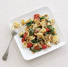 Orecchiette pasta with roasted cauliflower, arugula (rocket) & prosciutto