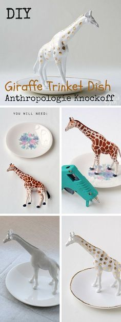 Check out the tutorial: #DIY #Anthropologie Giraffe Trinket Dish Knockoff…