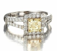 Princess Cut Yellow Diamond Halo Ring in 18k White Gold