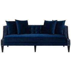 """Molly 82"""" Tufted Sofa Navy Velvet Sofas & Loveseats ($1,199) ❤ liked on Polyvore featuring home, furniture, sofas, tufted sofa, velvet couch, nailhead sofa, velvet loveseat and velvet tufted sofa"""