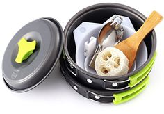 The Camping Cooking Kit by Survival Hax is a compact, and lightweight cookset made for the outdoors. Whether you're hiking for a day, backpacking for a week, or taking the family camping for .the loofah is a great idea for cleaning!