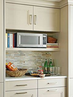 Furniture, Wood Wall Mounted Microwave Storage Under Cabinet Painted With  White Interior Color Plus False Exposed Stone Brick Backsplash And Kitchen  Recipe ...