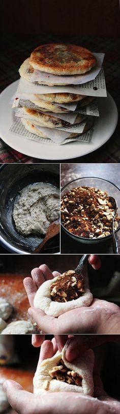 Sugar pancakes with a scrumptious twist aka Hoddeok, Korean street dessert! Sweet Recipes, Snack Recipes, Dessert Recipes, Cooking Recipes, Snacks, Muesli, Granola, Korean Dishes, Korean Food