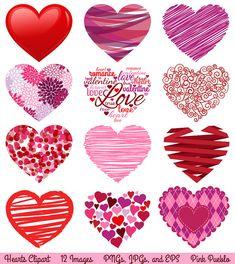 Valentine's Day Hearts Clipart Clip Art Love Clipart by PinkPueblo