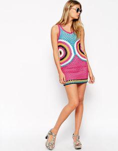 MODELO DE VESTIDO COLORIDO TEJIDO A CROCHET | Patrones Crochet, Manualidades y Reciclado
