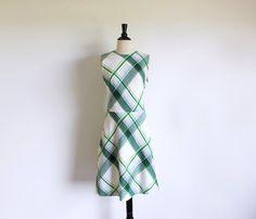 Vintage Green Dress 60s Mod Plaid Dress by StraylightVintage