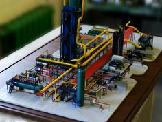 """Industrial model (architectural model). Layout """"Installing azeotropic cleaning up."""" Scale: 1: 130. Specialists model workshop """"Best Models"""" layout """"Layout industrial plant"""" was created (architectural model). The model is in a fairly large scale and high detail: Made a plurality of tubes, gratings, cylinders and other details. The surrounding landscape is shown conditionally. Промышленный макет (архитектурный макет). Макет «Установка азеотропной отчистки». Масштаб: 1:130. Специалистами…"""