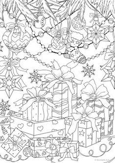 Gifts - Printable Adult Coloring Page from Favoreads Coloring book pages for adults and kids Coloring sheets Coloring designs Christmas Coloring Sheets, Printable Christmas Coloring Pages, Printable Adult Coloring Pages, Adult Coloring Book Pages, Coloring Pages To Print, Coloring Pages For Kids, Coloring Books, Free Coloring Sheets, Free Halloween Coloring Pages