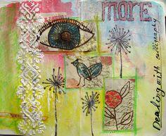 Eye, flowers, background, yellow, green