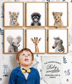 *** This listing is for a set of 6 printable designs - youll receive all designs in all sizes with your purchase, via a single download link *** WOULD YOU LIKE TO CHOOSE YOUR OWN SET? Add any 6 baby animal printables to your cart and use coupon code 6BABYANIMALS at checkout for a