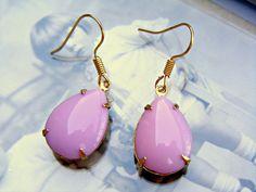 Pink Vintage Earrings Pink Dangle Earrings Vintage by Sweetystuff, £13.00