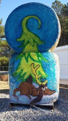 Painted Hay Bale by Cyndi McKnight for Hill Ridge Farms 2014