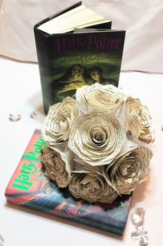 Book page bouquet Harry Potter book page flower by CENTERTWINE                                                                                                                                                                                 More