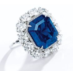 A 17.16-carat Kashmir sapphire and diamond ring fetched $4.06 million ($236,404 per carat) at Sotheby's Hong Kong. Image: Sotheby's