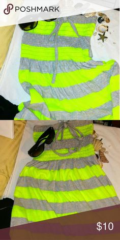 Exist Miami cover up Adorable Heather grey and neon yellow cover up for the beach or just a dress for a hot summer day. bandeau top has a cute bow tie at the top .has little slits on the side very comfortable great for a hot summer day or night. Never wore exist Miami Dresses