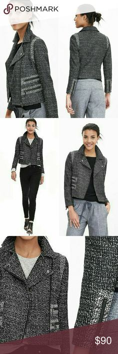 "Banana Republic Pieced Moto Jacket Gorgeous moto jacket in black and white tweed. Fully lined, 100% polyester. Dry clean. 13.5"" shoulder to shoulder,  17.5"" armpit to armpit, 18"" long shoulder to bottom hem, sleeves are 21"" long. Banana Republic Jackets & Coats"