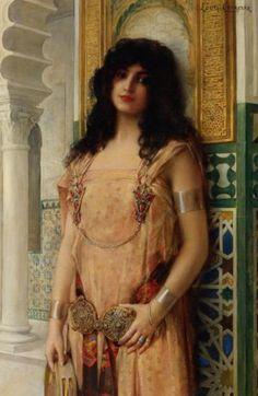 Leon Francois Comerre (1850-1916) Eastern Beauty   Oil on Canvas 111.4 x 73.6 cm