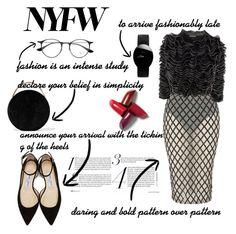 """""""NYFW"""" by simbarosse ❤ liked on Polyvore featuring Eddie Borgo, Jimmy Choo, Rare London, Alexander McQueen, Ray-Ban and Rado"""