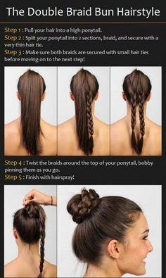 Braided bun Double Braid Bun Hair Tutorial Braid bun braid it 5 Minute Hairstyles, Braided Bun Hairstyles, Braided Buns, Wedding Hairstyles, Hairdos, Trendy Hairstyles, Updos, Double Braid, Corte Y Color