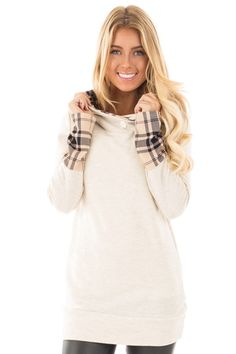 Oatmeal Knit Hoodie with Plaid Accent Cuffs and Hood front close up