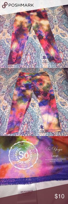 Work out Galaxy yoga capris so brand size L Be a star or at least feel like one while working out! In great condition! Beautiful vibrant colors and super comfortable as they have stretch! Size large. So brand. ACCEPTING REASONABLE OFFERS, NO TRADES THANK YOU! Pants Leggings