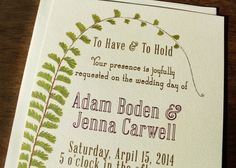 Vintage Fern Wedding Invitation Rustic Wedding by KayleighDuMond, $50.00