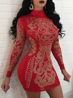 Sexy Geometric Rhinestone Red Bodycon Dress Long Sleeve Women Turtleneck  Hollow Out Evening Christmas Mini Party Sparkly Dresses 6531db88b75c