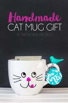 Need the purr-fect gift for the cat lover in your life? This Handmade Cat Mug Gift is a breeze to make and great to gift!
